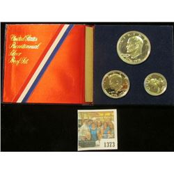 1373 _ 1976 S Silver Three-Piece U.S. Bicentennial Proof Set in original silk and velvet-lined holde
