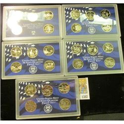1382 _ 1999 S, 2000 S, 2001 S, 2002 S, & 2003 S San Francisco Mint State Clad Proof Quarters sets in