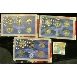 1402 _ 1999 S, 2000 S, & 2001 S San Francisco Mint State Clad Proof Quarters sets in U.S. Mint plast