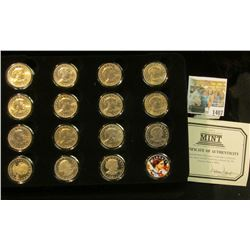 1407 _ Sixteen-piece Sacagawea BU or Proof Sacagawea Dollar Set in a velvet-lined case with COA. Con