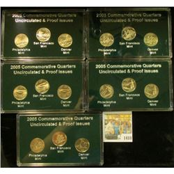 1410 _ 2005 Proof & Uncirculated  P, D, & S Statehood Quarters in five cases and stored in a box.
