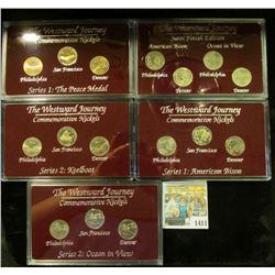 "1411 _ (4) ""The Westward Journey Commemorative Nickels Philadelphia Denver San Francisco"" Three & fo"
