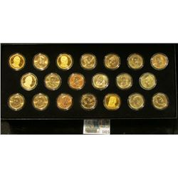 1415 _ (20) Proof & BU U.S. Presidential Dollars. All encapsulated and stored in a velvet-lined blac