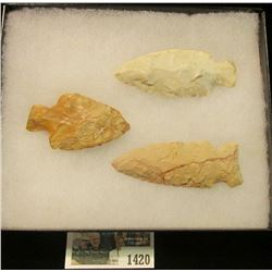 "1420 _ Pair of Stemmed & a side-nothed Flint Native American Artifacts in 5"" x 6"" glass-fronted case"