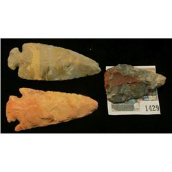 1429 _ Triangular Blad, Corner-notched Spear Point, and a St. Charles Dove Tail Native American Flin