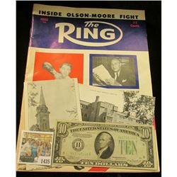 "1435 _ August, 1955 ""The Ring"" with an article on ""Inside Olson-Moore Fight"", which sold for 35c; ""H"