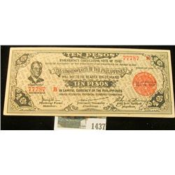"1437 _ Ten Peso ""Emergency Circulating Note of 1942 Issued by the President of the Philippineson Jan"
