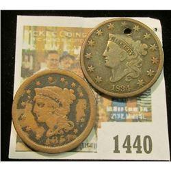 1440 _ 1834 (holed) & 1851 U.S. Large Cent.