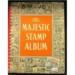 "1446 _ ""The Majestic Stamp Album"" full of Old U.S. & World Stamps, never checked for rarity."