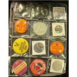 1452 _ 12-pocket plastic page containing 8 various Sports related pin-backs or pins, and one medal.