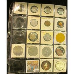 1453 _ 20-pocket plastic page containing 16 various Sports related pins, medals, or Good For Tokens.