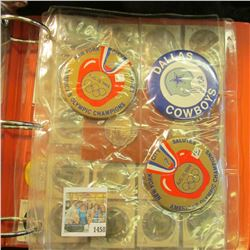 1458 _ Three-ring Notebook with several plastic pages of Sports related items including bottle caps,