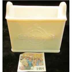 "1464 _ White Milk Glass Napkin Holder ""Property of National Paper/Napkin Company/Trade/Mark/Nap-o-Fo"