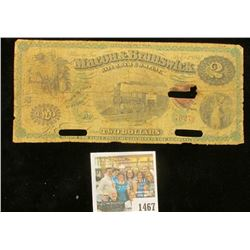 "1467 _ 1867 ""Macon & Brunswick Railroad Company"" Two Dollar Banknote, hole cancelled."