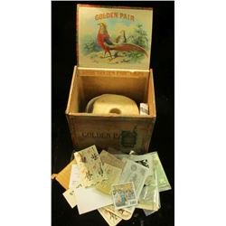 "1468 _ ""Golden Pair Cigars"" Wooden Box with various memorabilia including a roll of Harkin's Campaig"