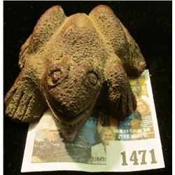 1471 _ What Cheer (Iowa) Pottery Stoneware Frog with Sex Parts. Extremely rare from a now defunct po