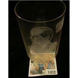 "1472 _ President McKinley Etched Crystal Glass ""Our President 1897 To 1901"" Very Good condition."