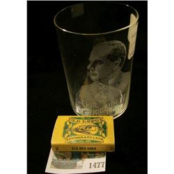 "1477 _ ""Old Depot Restaurant & Pub Adel, Iowa"" Match Box; & President McKinley Etched Crystal Glass"
