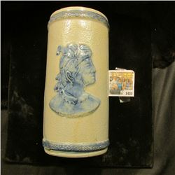 "1480 _ ""Sleepy Eye"" Pottery Vase. Cracked. 6 5/8"" x 4"". Quite Rare even in this condition."