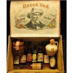 "1482 _ ""Uncle Van"" Wooden Cigar Box with (10) miniature Alcohol Bottles. All quite old and part of D"
