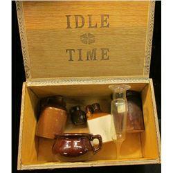 "1483 _ ""1 oz. Vitax USA"" Medicine Funnel; Square Stoneware Whiskey Flask; small stoneware Whiskey Ju"