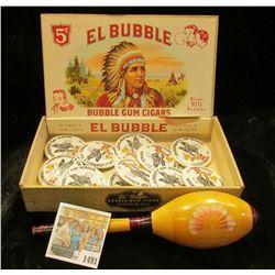 """1491 _ """"El Bubble Bubble Gum Cigars 5c"""" empty Box depicting Indian Chief; Wooden Rattle; & (11) """"Uni"""