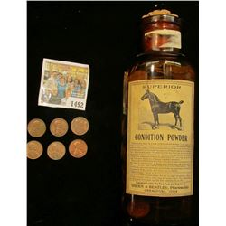 "1492 _ Old Horse Medicine Bottle ""Superior Condition Powder"" from Green & Bentley, Pharmacists Oskal"