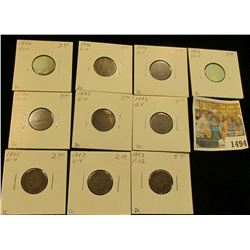 1494 _ 1892, (3) 1893, (3) 1895, (2) 1896, & 1898 Indian Head Cents grading Good to Fine, carded and