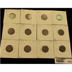 1495 _ 1892, (3) 1893, (3) 1895, (3) 1896, 1897, & 1898 Indian Head Cents. All carded and priced to