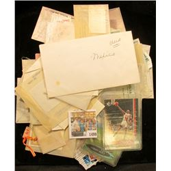 "1499 _ ""Torry Holt"" & ""Michael Jordan"" playing Cards; and a large group of Old Postage Stamps, which"