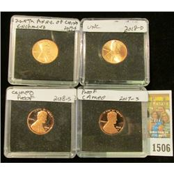 1506 _ 2017 S BU (225th Anniversary of the Lincoln Cent); 2017 S Frosted Proof; 2018 D BU, & 2018 S