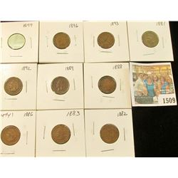 1509 _ 1881, 82, 83, 86 variety 1, 88, 89. 92, 93, 96, & 99 Carded and ready to sell Indian Head Cen
