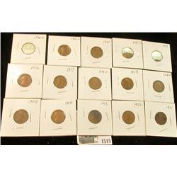 1515 _ 1909P, 10P, 11P, 12P, 13P, 16P, D, 17P, D, 18P, D, 19P, D, 20P, D, & S Lincoln Cents. All car