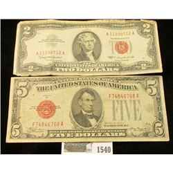 "1540 _ $2 Series 1963 & Series 1928C $5 both ""Red Seals"" United States Notes."
