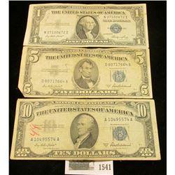 1541 _ Series 1935E $1, Series 1953A $5, & Series 1953A $10 U.S. Silver Certificates.