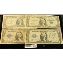1547 _ Series 1928A, B, & Series 1957, & 57B $1 U.S. Silver Certificates. (total of 4 notes).