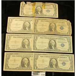 1549 _ Series 1935A, 35C, 35D, 35E, 35F, 1957, & 57B U.S. $1 Silver Certificates. (total of 7 notes)
