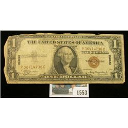 """1553 _ Series 1935A One Dollar """"Hawaii"""" Silver Certificate. Has the Emergency """"Hawaii"""" over print."""