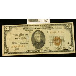 """1560 _ Series of 1929 $20 National Currency """"The Federal Reserve Bank of Kansas City, Missouri"""", nic"""