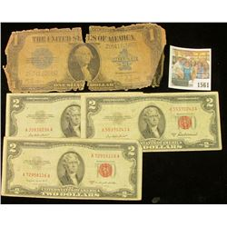 """1561 _ Series of 1923 One Dollar """"Blanket"""" Silver Certificate, ragged; & Series 1953, 53A, & 53B $5"""