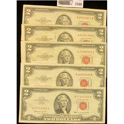 "1566 _ (5) Various Series $2 ""Red Seal"" U.S. Bank Notes."