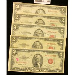 "1568 _ (5) Various Series $2 ""Red Seal"" U.S. Bank Notes."
