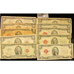 """1570 _ (10) Various Series $2 """"Red Seal"""" U.S. Bank Notes. Dating back to 1928."""
