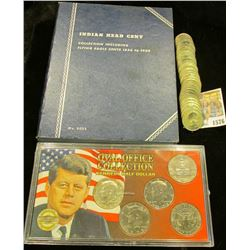 """1576 _ Blue Whitman folder containing an 1898 Indian Head Cent; """"Oval Office Collection Kennedy Half"""