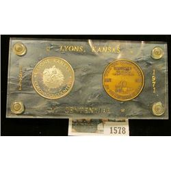 """1578 _ 1871-1971 """"Lyons, Kansas Centennial"""" Serial no. 176 two-piece Medal Set in a special holder w"""