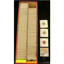 """1585 _ Red 14"""" Double Row Stock Box 95% full of carded, ready for Flea Market 1944-4 World War II er"""