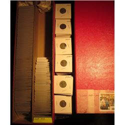 """1587 _ Red 14"""" Double Row Stock Box 90% full of carded, ready for Flea Market 1943-44 World War II e"""