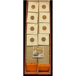 """1588 _ Red 14"""" Double Row Stock Box 95% full of carded, ready for Flea Market 1945-46 World War II e"""