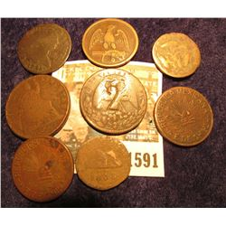 """1591 _ Rare early Mexico Copper Coin with a """"2"""" Counterstamp; London Token; (2) 1915 Republic of Mex"""