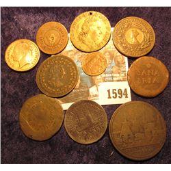 "1594 _ An Unknown ""Sana/Bria"" Token; unknown London Token; ""Spiel Marke""; 1917 Chamber of Commerce B"